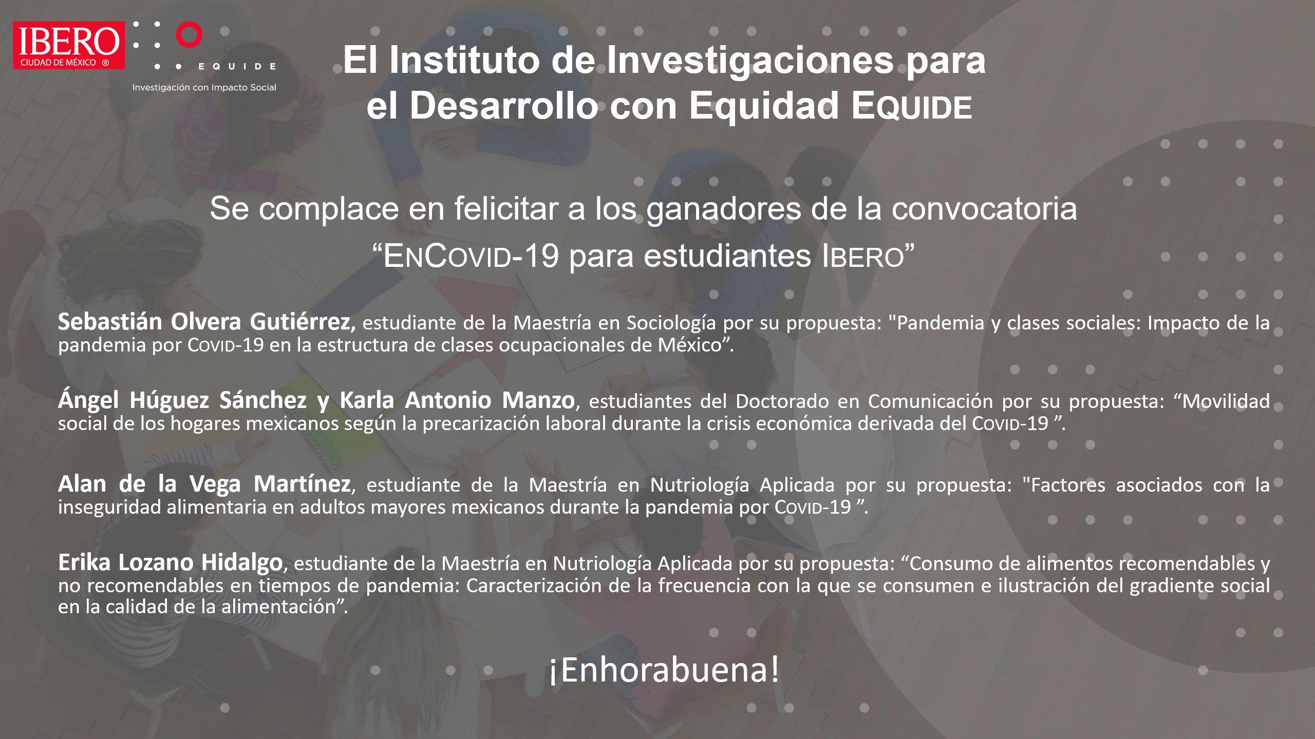 Convocatoria ENCOVID-19 para estudiantes de la IBERO tiene ganadores